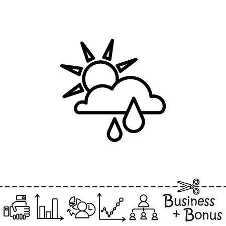 Web icon. Sunny rain. Sun, cloud and rain
