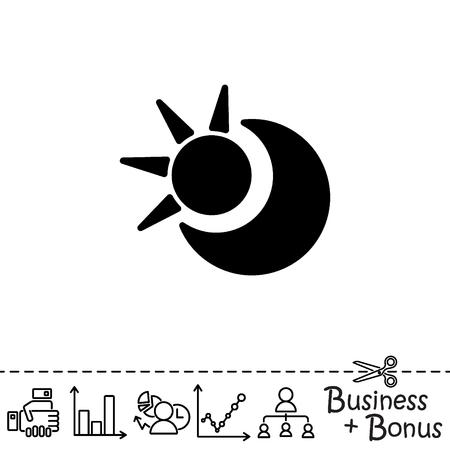 Web icon. Sun and moon (crescent) Illustration