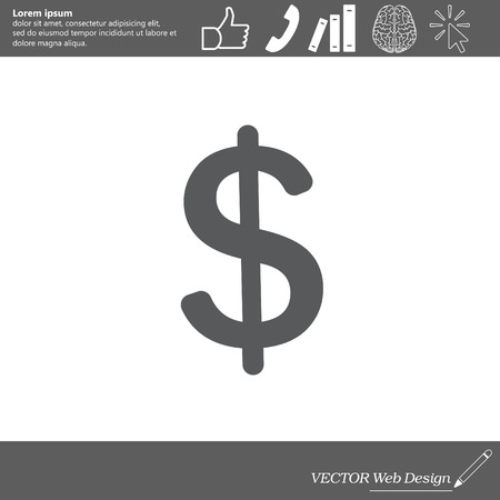 smacker: Flat dollar icon. Illustration