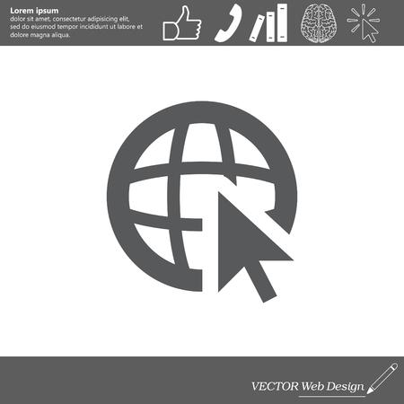 mouse: Globe (go to web) icon. Vector design