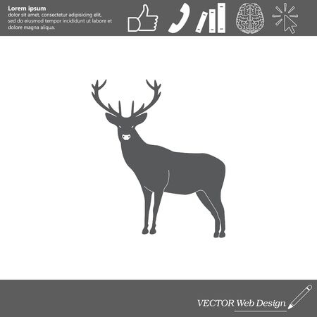 horny: silhouette deer with great antler