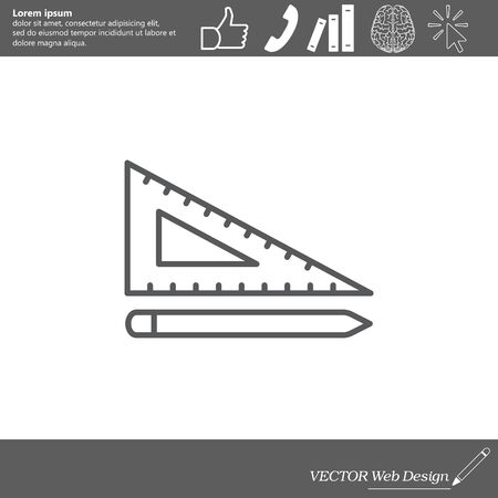 scale icon: Pencil and ruler line icon