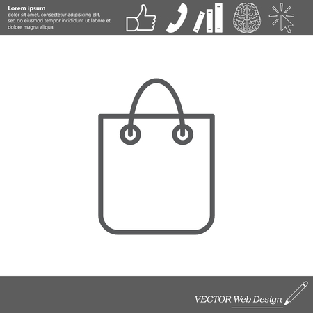 acquirement: shopping bag - vector line icon Illustration