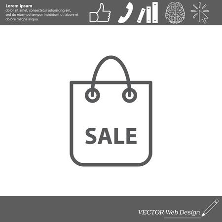sac: shopping bag - vector line icon Illustration