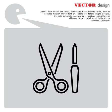 cuticle: Web line icon. Scissors and nail file