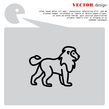 royal safari: Web line icon. Lion; wild animals Illustration