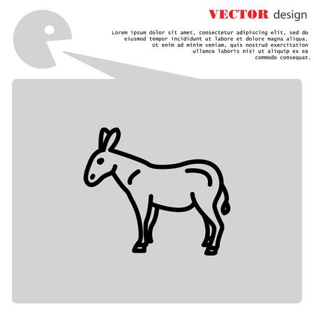 Web line icon. Donkey, livestock Illustration
