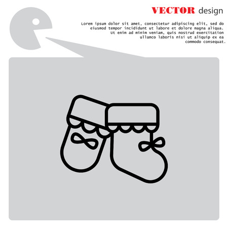 bootees: Web line icon. Babys bootees