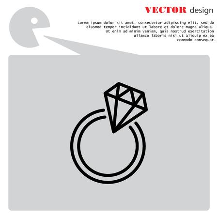 diamond stones: Web line icon. Diamond ring. Illustration