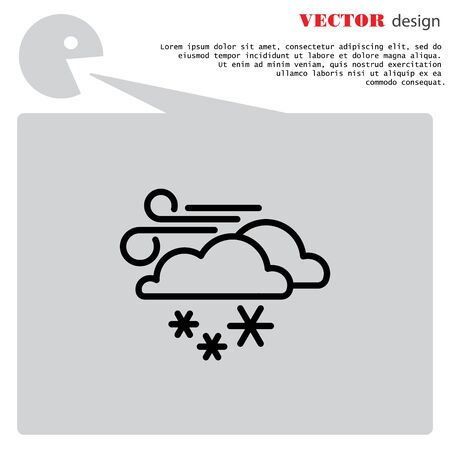 windy day: Web icon. Wind, clouds and snow