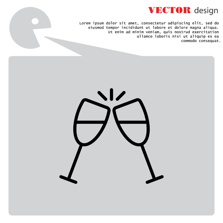 Web line icon. Glasses of champagne.