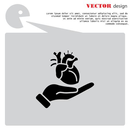 donacion de organos: Icono de Web. Corazón humano en la mano Vectores
