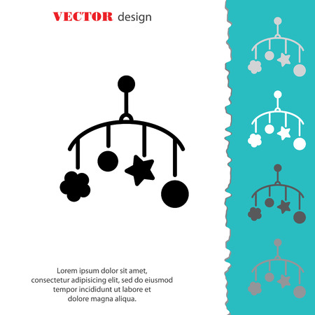Web line icon. Baby crib hanging toy; toy above the crib Illustration