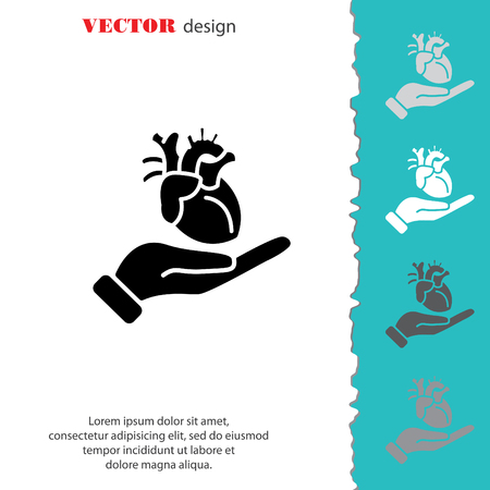 simple life: Web icon. Human heart in hand Illustration