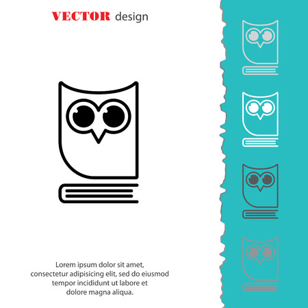 polyglot: Web icon. Owl on the book, logo, education emblem