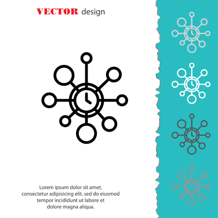 extravagant: Web line icon. Wall clock, decoration