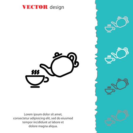 Icona linea Web. Coppa e teiera, cerimonia del tè