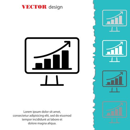 led display: Web line icon. Monitor with business graph