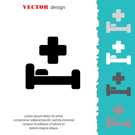 Web icon. Hospital bed and cross