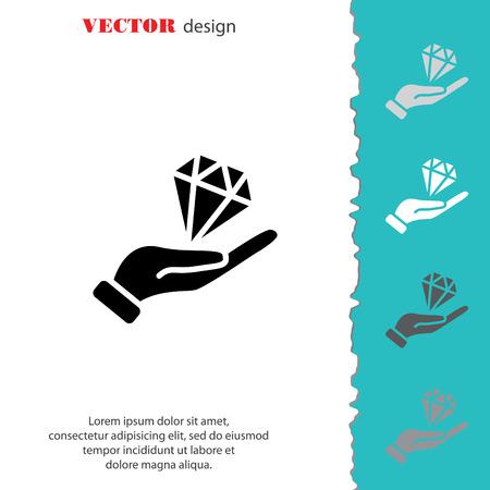 diamond stones: Web icon. Diamond in hand