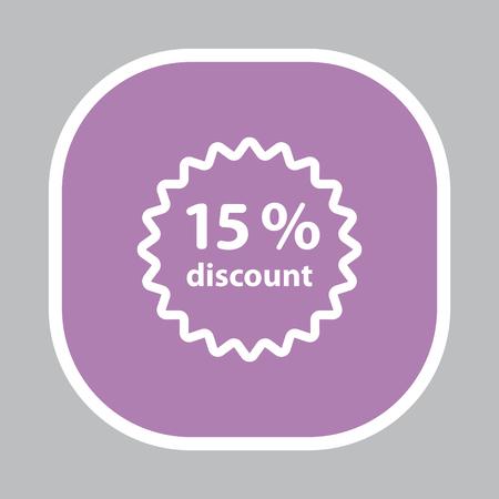 fifteen: Discount fifteen (15) percent circular icon