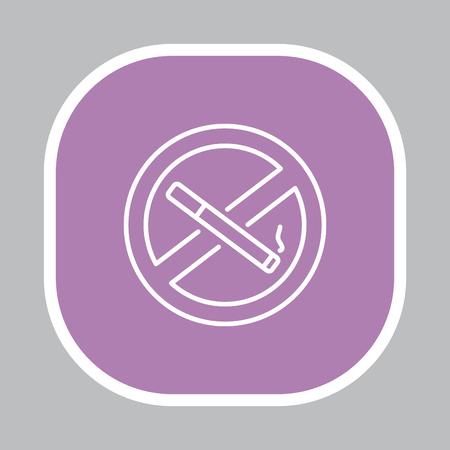 smoldering: No smoking sign line icon. Illustration