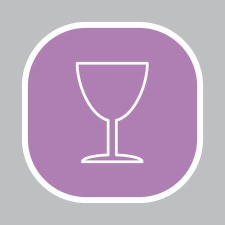 Line icon of Fragile symbol (sign) Illustration