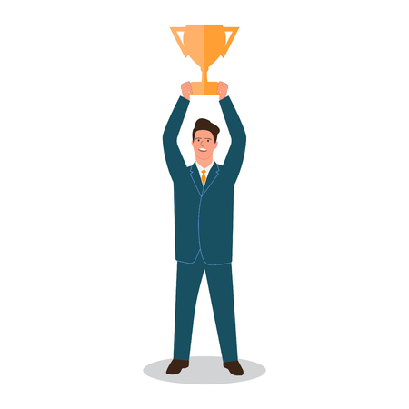 Businessman standing and holding winner golden cup over his head, business challenge and success vector Illustration Illustration