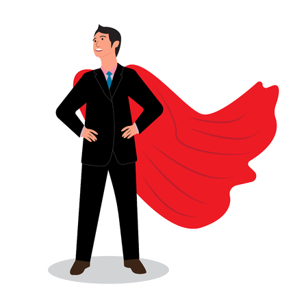 Businessman in a red raincoat Vector illustration. Illustration