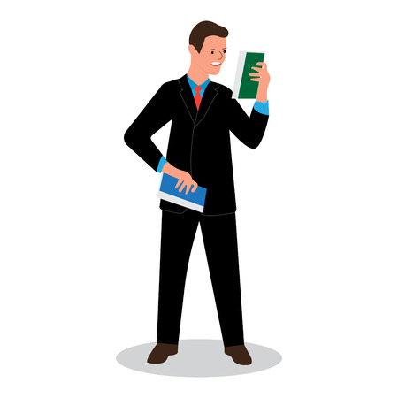 businessman reads data scientific report, news, development schedule, strategy vector illustration