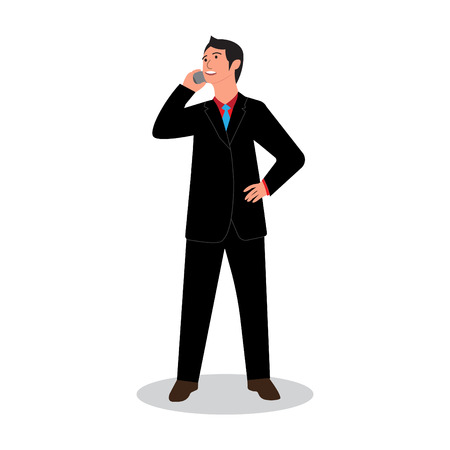businessman standing talking on smartphone. business conversation. vector illustration