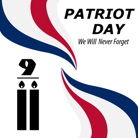 We Will Never Forget. 911 Patriot Day background, American Flag stripes background. Patriot Day September 11, 2001 Poster Template, we will never forget you, Vector illustration for Patriot Day