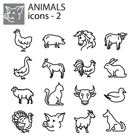 Web icons set - Livestock, Farm animals