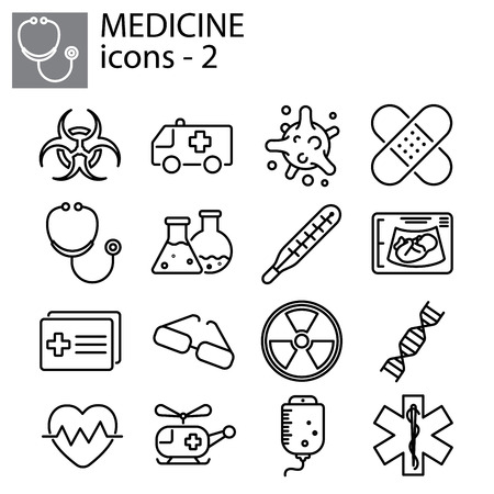 Web line set. Medicine illustration design Vectores