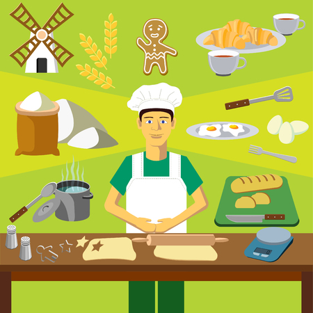 Color vector clip art. Infographics education. Profession of the baker or cook with bread, egg and pan