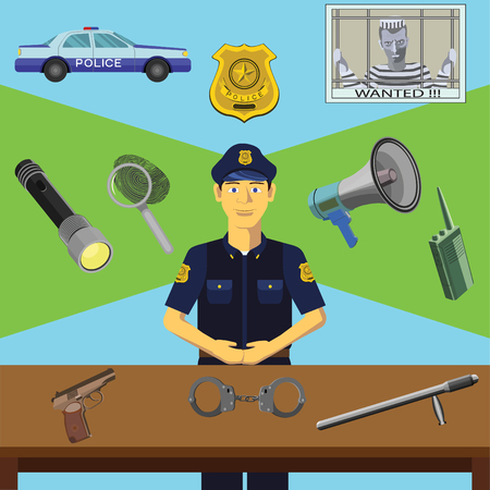 Color vector clip art. Infographics education. Profession of the policeman Illustration