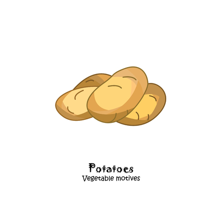 Potatoes colored vector illustration.