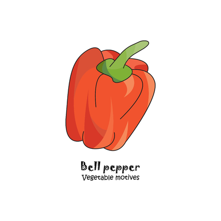 Sweet red pepper colored vector illustration.
