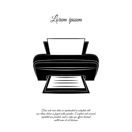Printer icon illustration on white background. Illustration