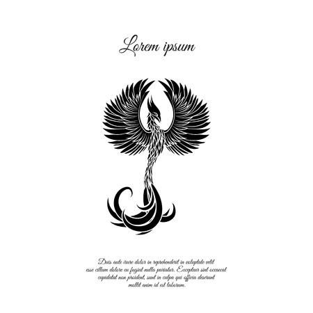 Phoenix legendary bird icon design Illustration