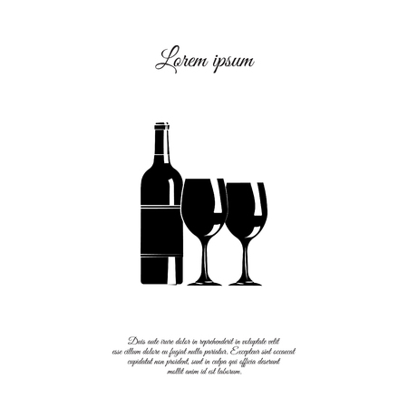 A bottle of wine and glasses, wine and glasses illustration.