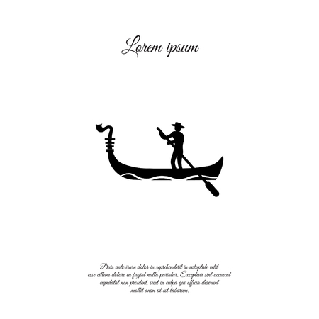 Gondoliereikonenillustration auf weißem Hintergrund.