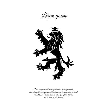 Escudo de armas de Inglaterra. León orgulloso de pie, diseño de icono de emblema victoriano Ilustración de vector
