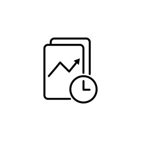 Web line icon. Clock and graph, analytics.
