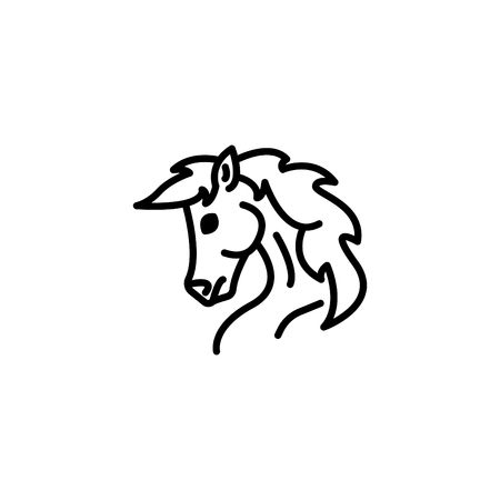 Web line icon. Horse; wild animals; livestock.