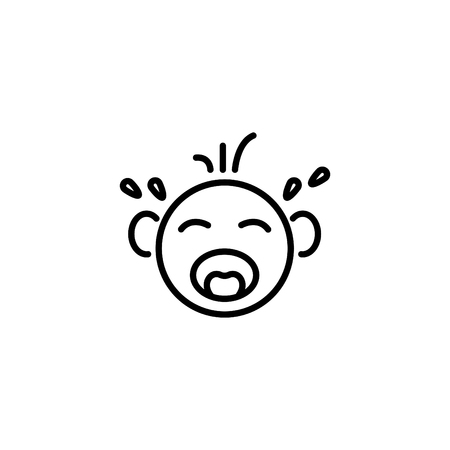 Web line icon. Crying Baby,
