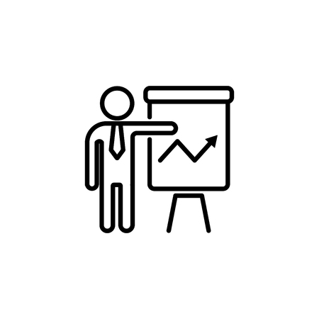 Web line icon. Business; Report (man at the Flipchart ).