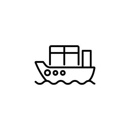 Web line icon. Cargo Ship.