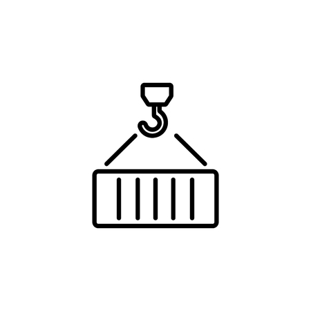 Web line icon. Crane, loading container. Иллюстрация