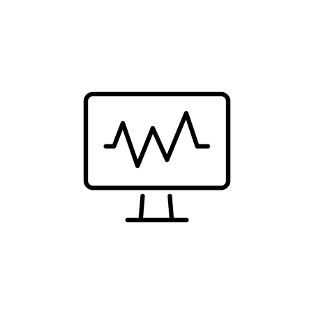 Pulse monitoring Web line icon.